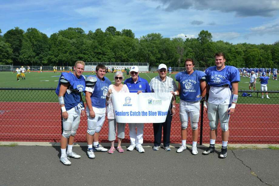 The 2016 Darien High School Football Captains pose before the 2016 season. Photo: Contributed Photo / Darien News
