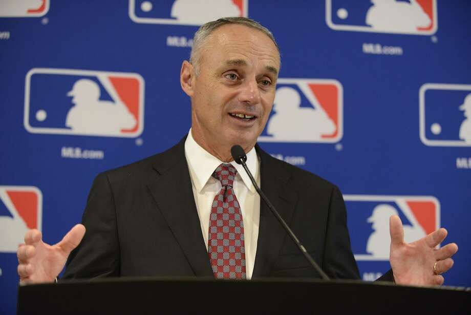 If Bud Selig and Don Fehr could hijack the game for 232 days and call off the 1994 World Series, perhaps we should put nothing past Commissioner Rob Manfred (seen in photo) and union chief Tony Clark. Photo: Paul Beaty, AP