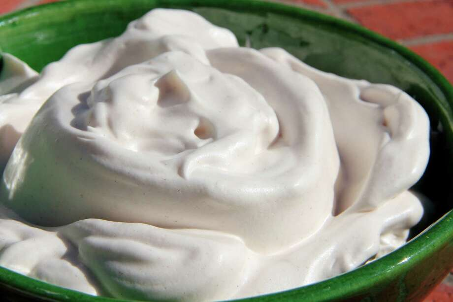 """Liquid leftover from the slow cooking of beans and legumes - it is called """"aquafaba"""" - can be whipped up into a pillowy fluff in minutes. Photo: Melissa D'Arabian, UGC / Melissa d'Arabian"""