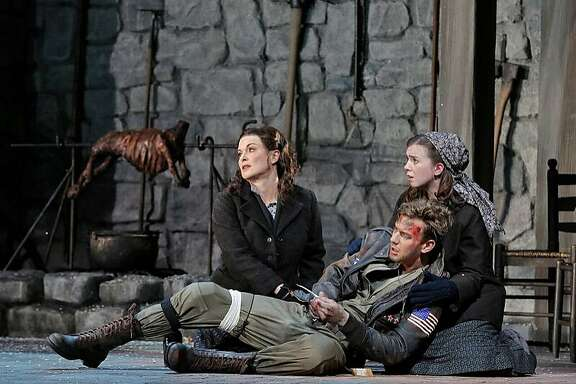 "Lyric baritone Edward Nelson made his San Francisco Opera debut in the role of John Buckley in the world premiere of ""Two Women"" in the summer of 2015. He is shown above with Anna Caterina Antonacci, left, as Cesira, and Sarah Shafer as Rosetta"