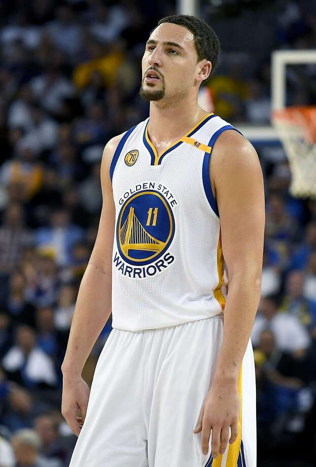 OAKLAND, CA - OCTOBER 25:  Klay Thompson #11 of the Golden State Warriors reacts after he was called for a foul against the San Antonio Spurs during the third quarter in an NBA basketball game at ORACLE Arena on October 25, 2016 Oakland, California. NOTE TO USER: User expressly acknowledges and agrees that, by downloading and or using this photograph, User is consenting to the terms and conditions of the Getty Images License Agreement.  (Photo by Thearon W. Henderson/Getty Images) Photo: Thearon W. Henderson, Getty Images