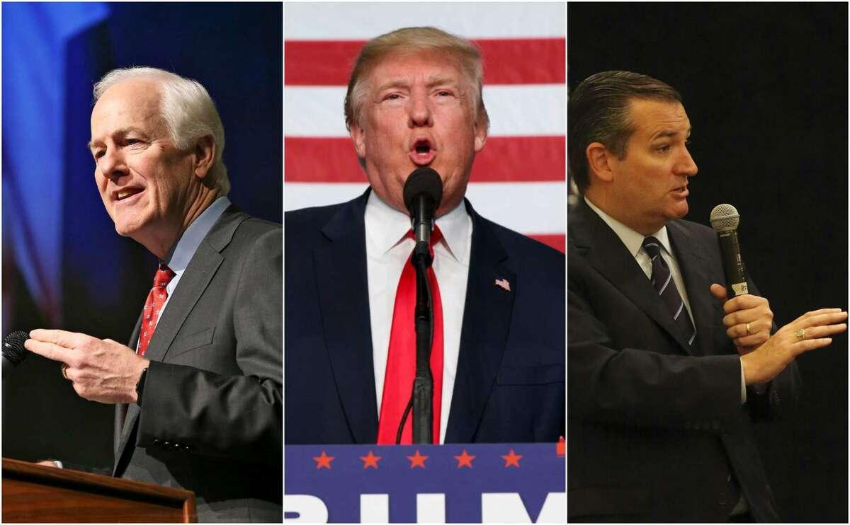 This collage is made from photos by Evan Tucci/AP (Donald Trump), Tom Reel/San Antonio Express-News (John Cornyn), and John Davenport/San Antonio Express-News (Ted Cruz).