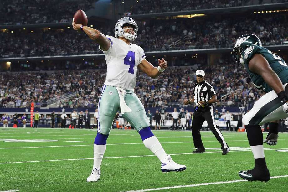 Dak Prescott continues to show poise beyond his experience level in leading the Cowboys to a comeback victory over the Eagles on Sunday night. Photo: Ronald Martinez, Staff / 2016 Getty Images
