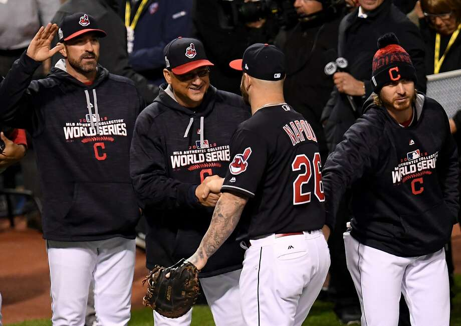CLEVELAND, OH - OCTOBER 25:  Manager Terry Francona of the Cleveland Indians shakes hands with Mike Napoli #26 after defeating the Chicago Cubs 6-0 in Game One of the 2016 World Series at Progressive Field on October 25, 2016 in Cleveland, Ohio.  (Photo by Jason Miller/Getty Images) Photo: Jason Miller, Getty Images
