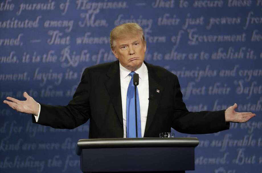 Republican presidential nominee Donald Trump speaks during the presidential debate with Democratic presidential nominee Hillary Clinton at Hofstra University in Hempstead, N.Y. Photo: Patrick Semansky / Associated Press / Copyright 2016 The Associated Press. All rights reserved.