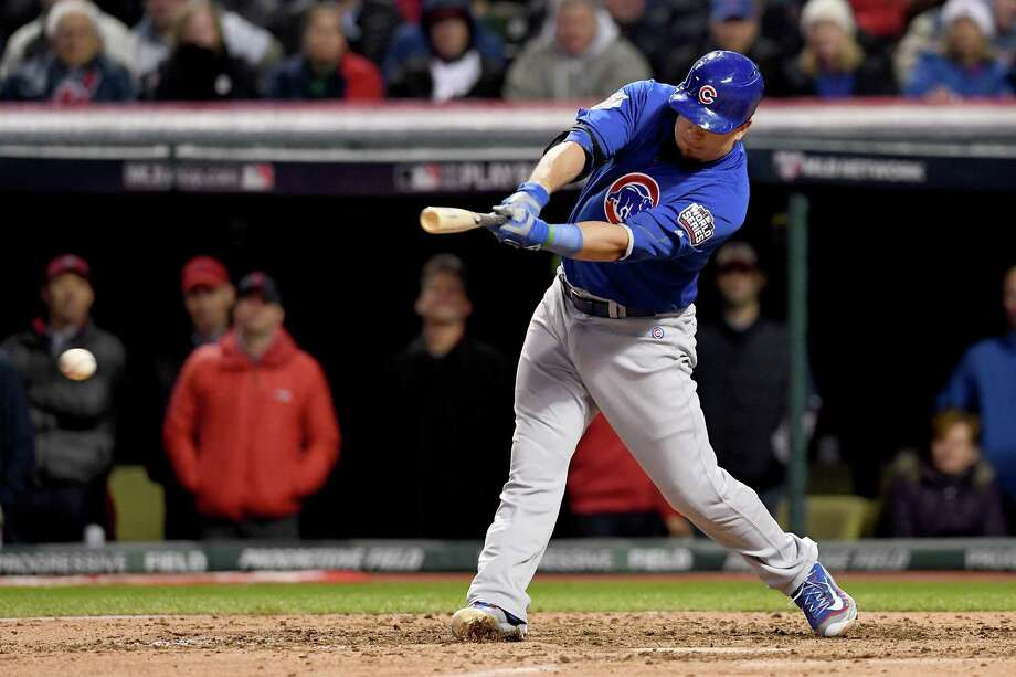 The Cubs' Kyle Schwarber will be more of a factor with the World Series shifting to Cleveland as he'll be the designated hitter after getting only one at-bat in three games in Chicago. Photo: Jason Miller, Stringer / 2016 Getty Images