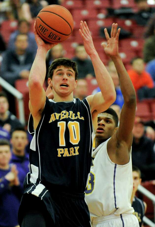 Averill Park's Ryan Bielawa (10) scores against Troy during their Section II Class A Boys' Semifinal High School Basketball game in Guilderland, N.Y., Thursday, March 5, 2015. (Hans Pennink / Special to the Times Union) ORG XMIT: HP103 Photo: Hans Pennink / 00030842A