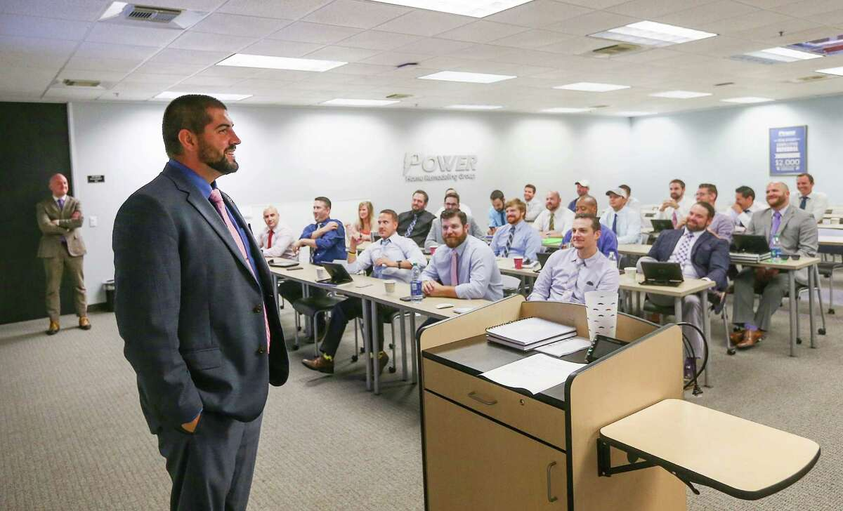 Josh Shepard, regional vice president of sales at Power Home Remodeling, leads a meeting Tuesday, Sept. 20, 2016, in Houston. ( Jon Shapley / Houston Chronicle )