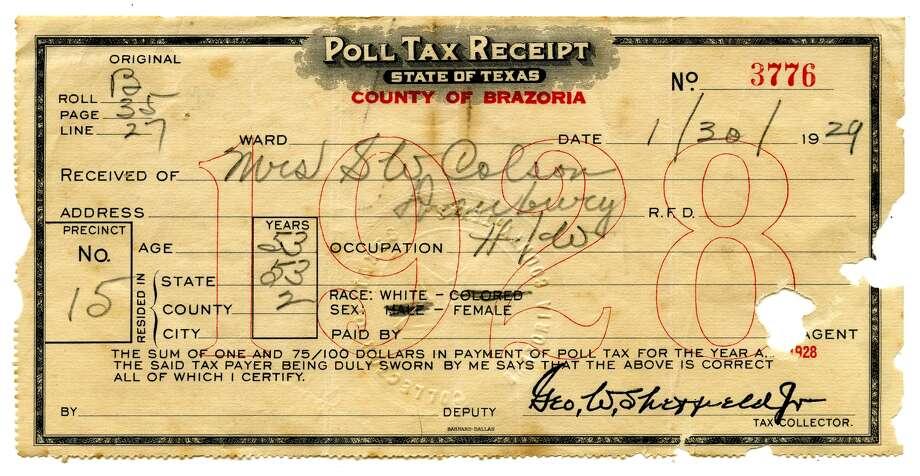 1928 poll tax receipt for Brazoria County. Photo: J.R. Gonzales