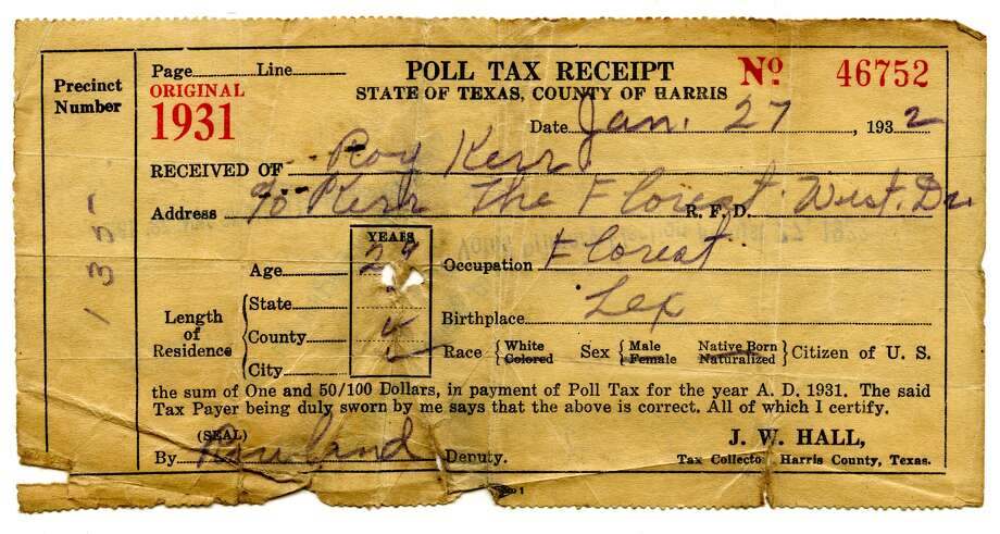1931 poll tax receipt for Harris County. Photo: J.R. Gonzales