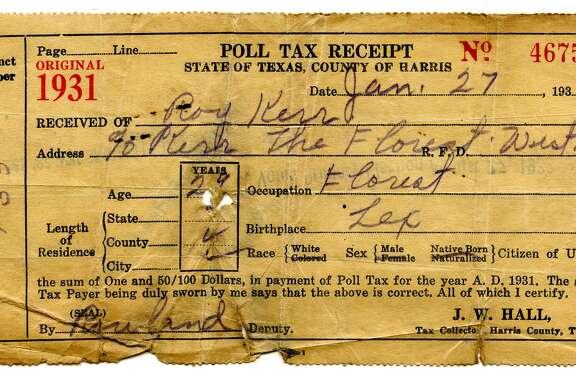 1931 poll tax receipt for Harris County.