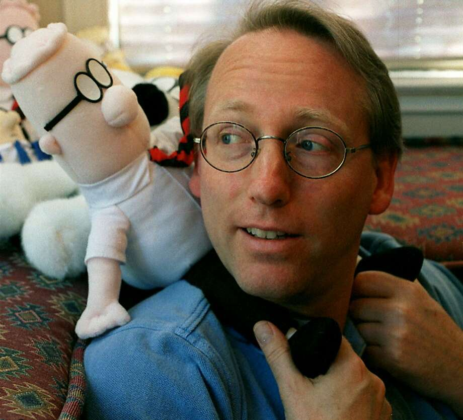 Cartoonist Scott Adams poses with a Dilbert stuffed toy in his Blackhawk home.  Photo: KAT WADE, SFC