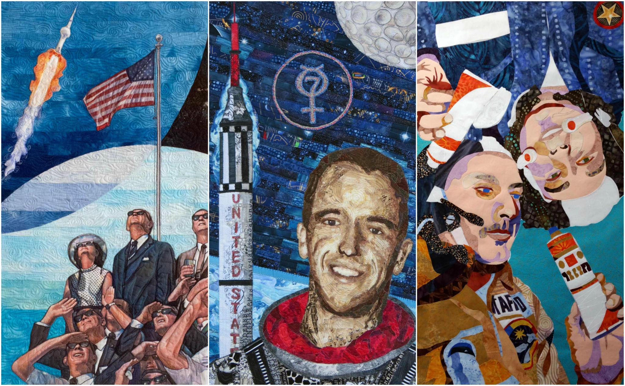39 fly me to the moon 39 exhibition at quilt festival captures for Jobs in outer space