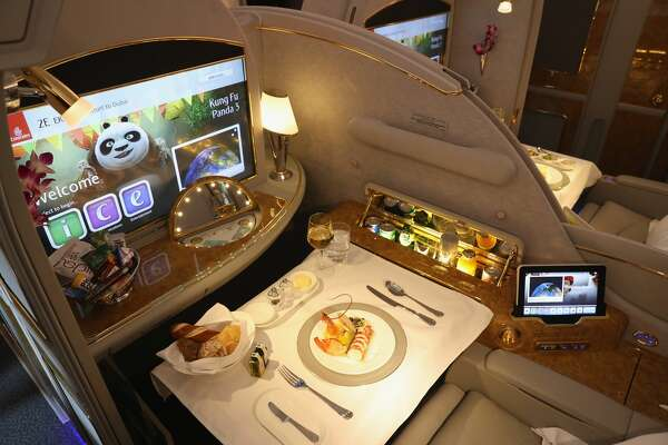 SCHOENEFELD, GERMANY - JUNE 01:  A meal lies served in a compartment in first class on board an Emirates A380 passenger plane at the ILA 2016 Berlin Air Show on June 1, 2016 in Schoenefeld, Germany. The ILA 2016 will be open to visitors from June 1-4.  (Photo by Sean Gallup/Getty Images)