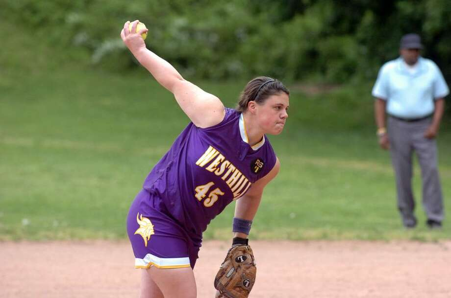 Jen Joseph throws for Westhill as Westhill High School hosts Darien High in a girls softball game Monday, May 17, 2010. Westhill won 1-0 in the bottom of the 7th. Photo: Keelin Daly / Stamford Advocate