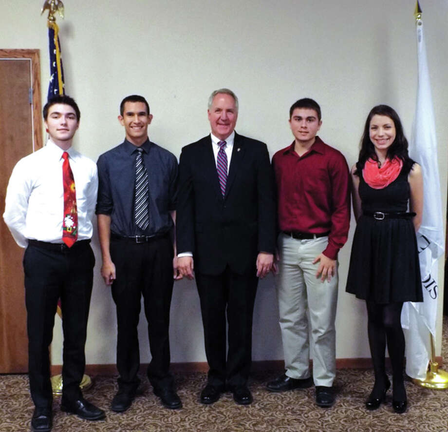 Congressman John Shimkus recently hosted a reception for his nominees to the military academies.  Shown with him from the area are, left to right:  Connor Cunningham of Edwardsville, Naval Academy; Grant Camillo of Highland, Military Academy; Zachary Auer of Collinsville, Naval Academy; and Spencer Murphy of Highland, Naval Academy.
