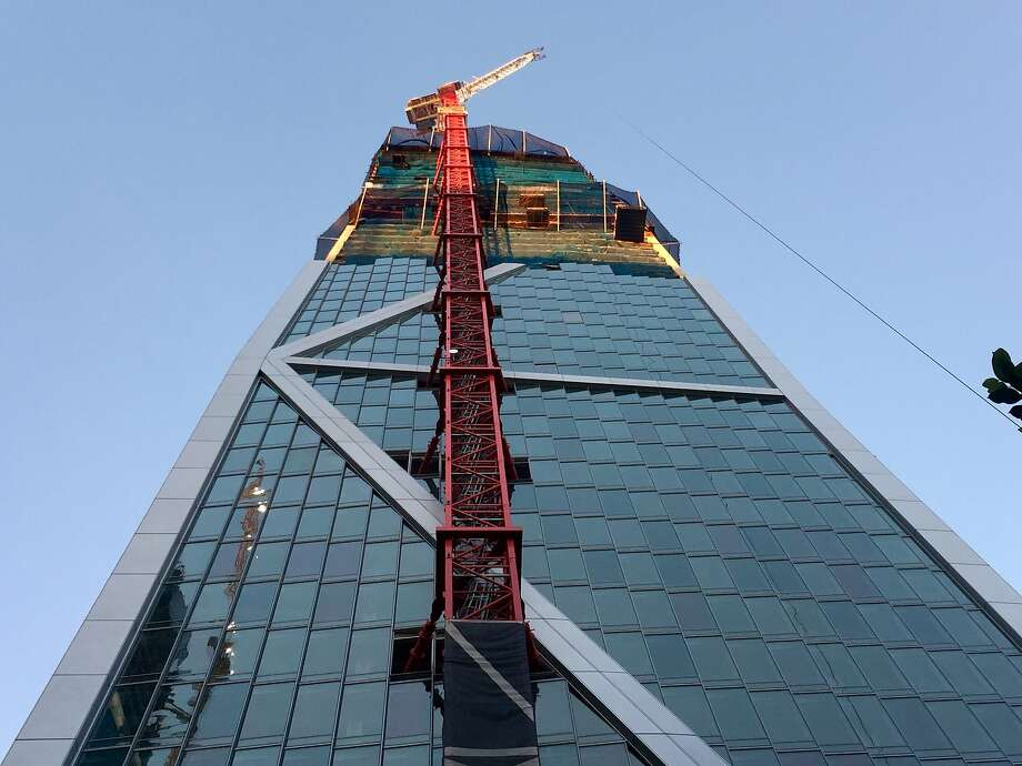The 57-story tower under construction at 181 Fremont St. is held up by an exoskeleton, where the structural bones are on the outside of the building. Heller-Manus Architects did the unusual design. Photo: John King, The Chronicle