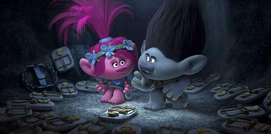 "Poppy (Anna Kendrick), Branch (Justin Timberlake) in ""Trolls."" Photo: DreamWorks Animation, Associated Press"