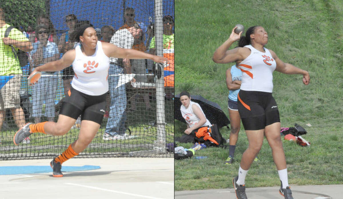 Edwardsville Tiger Emmonnie Henderson competes in the discus, left, and the shot put, right, during the 2013 season. Henderson won Class 3A state titles in the discus and the shot put at the state meet on May 18 at Eastern Illinois University's O'Brien Stadium, earning her the distinction as the Intelligencer's Female Athlete of the Spring Season.
