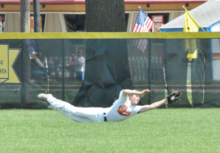 Edwardsville center fielder Matthew Zielonko makes a diving catch against the O'Fallon Panthers during the summer season. Zielonko was one of a large number of new faces for the EHS varsity team that went 18-21 this summer.