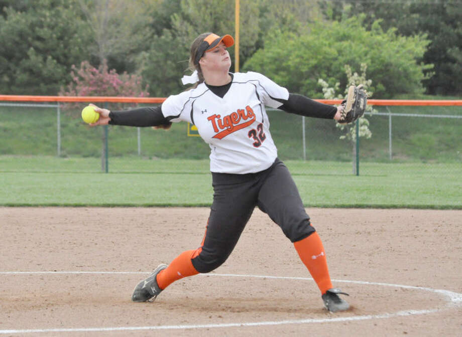 Edwardsville pitcher Amber Toenyes delivers the final pitch of her no-hitter to a Civic Memorial hitter on Friday.