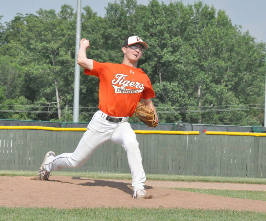 Edwardsville's Daniel Lloyd delivers a pitch earlier this summer at Tom Pile Field. Lloyd is 5-0 with a save this season.