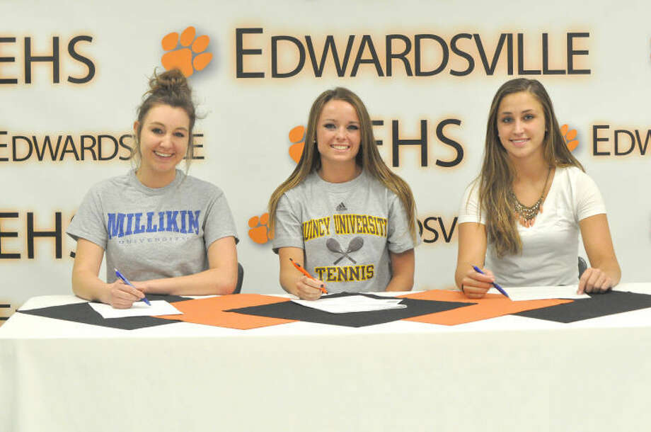 Three Edwardsville Tiger girls' tennis players have decided to continue their careers in college. Pictured from left to right are: Paige Bequette, Morgan McGinnis and Sara Janulavich. Bequette will play at Millikin University, McGinnis will continue her career at Quincy University and Janulavich will attend McKendree University.