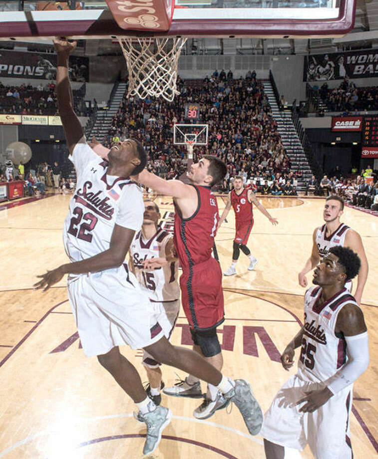 SIUC forward Armon Fletcher, an Edwardsville High School grad, goes up for a right-handed shot against SIUE earlier in the regular season. Photo: SIU Carbondale