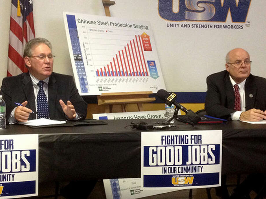 Granite City Mayor Ed Hagnauer, left, and Madison County Board Chairman Alan Dunstan during a recent press conference that made an appeal for fair trade laws regarding China. Photo: Steve Horrell/Intelligencer