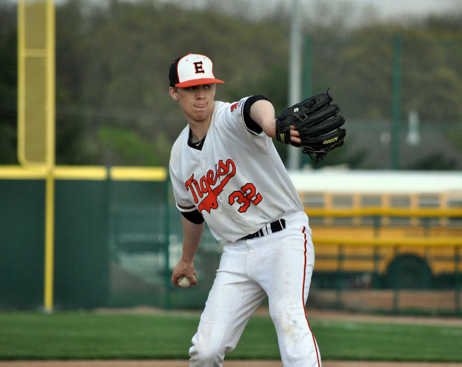 Edwardsville's Chris Robinson pitches during a game against Granite City on April 16.