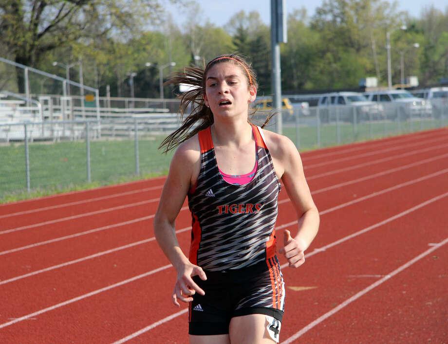 Edwardsville freshman Haley Allard competes in the 3,200-meter run Friday at the O'Fallon Invitational.