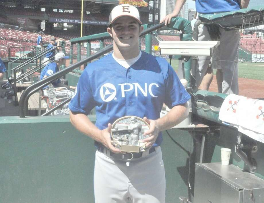 Edwardsville's Derek Page is all smiles, posing with his throwing accuracy trophy on Monday at Busch Stadium.