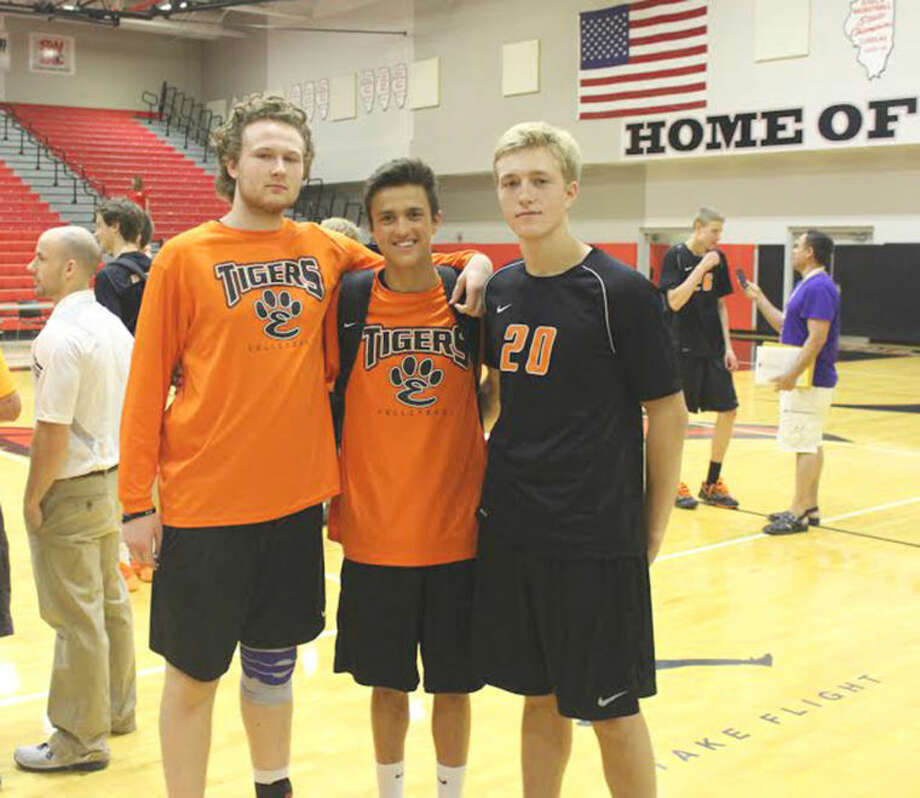 Seniors (from left) James Sauermann, Adam McLean and Brandon Davis helped the Edwardsville boys' volleyball team reach the state tournament, where it will play Lincoln-Way East at 2 p.m today at Hoffman Estates. Photo: Evan Meyers