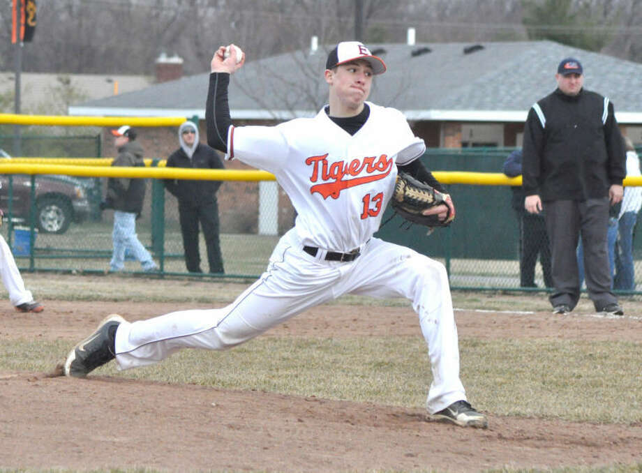 Edwardsville Tiger pitcher Cole Hagen delivers a pitch on Tuesday vs. Greenville at Tom Pile Field.