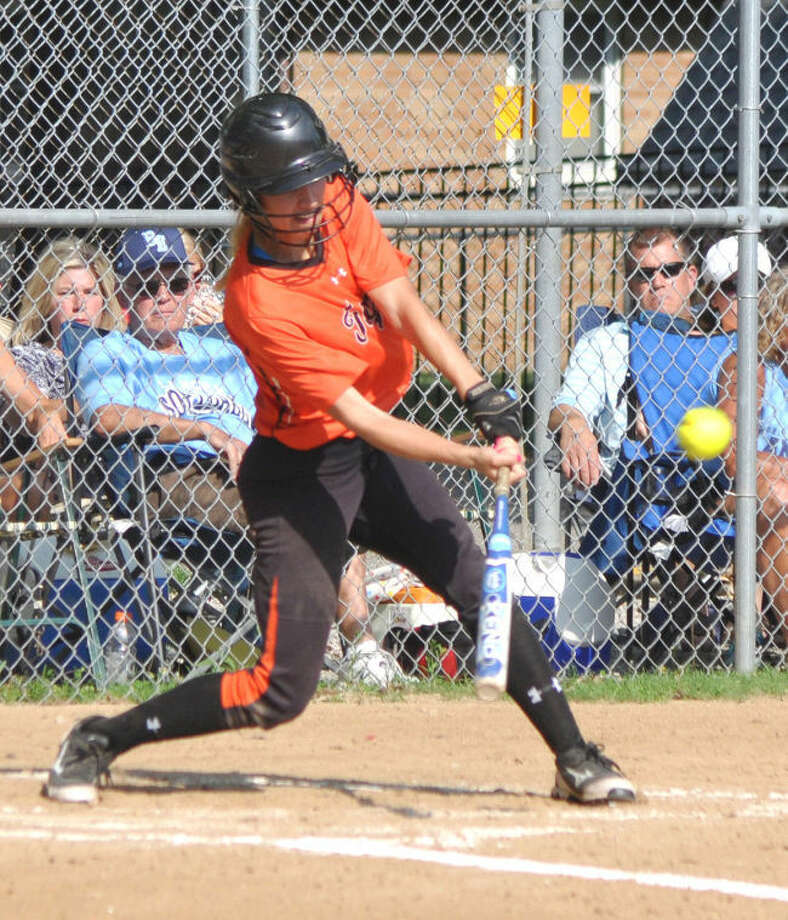 Edwardsville's Torrie Kruse picks up the first hit of the game in the second inning Tuesday against Belleville East in the Class 4A O'Fallon Sectional semifinals in O'Fallon.