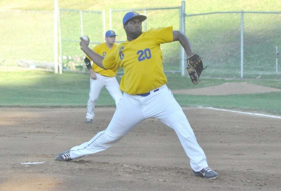 Edwardsville American Legion Post 199 pitcher Jevon Boyd hurls a pitch toward the plate in the first inning against Glen Carbon Post 435 Friday at Hoppe Park. Post 199 defeated Glen Carbon 12-1 in five innings.