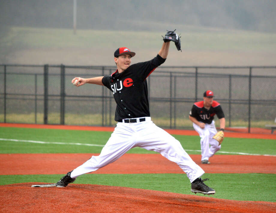 SIUE senior Jarrett Bednar pitches during the fourth inning of Saturday's Ohio Valley Conference game against Jacksonville State at Roy E. Lee Field.
