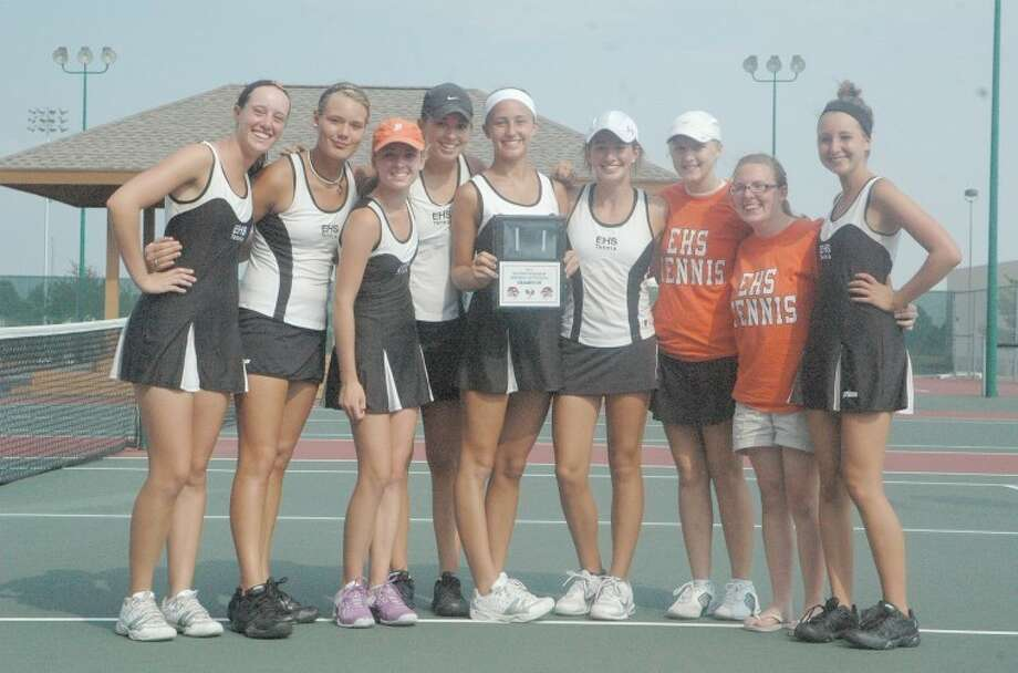 The Edwardsville Tiger varsity tennis team took first place in the Heather Bradshaw Memorial Invitational on Friday and Saturday at the EHS Tennis Center. The Tigers defeated Peoria Richwoods, Morton and Loyola Academy on Saturday to claim the title. Edwardsville's junior varsity team took fifth place in the event.