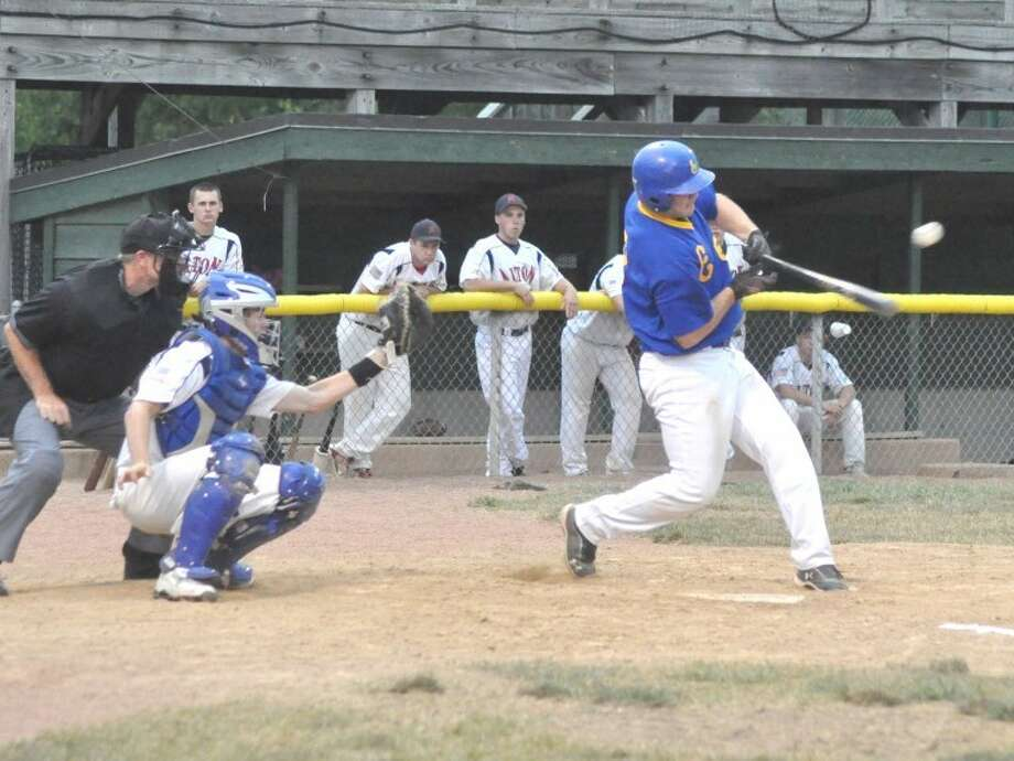 Edwardsville American Legion Post 199's Derek Page muscles a single into short left field in the first inning Sunday vs. Alton at Lloyd Hopkins Field in Alton.