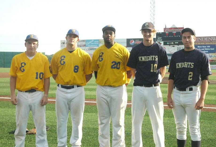 From left to right are: Chase McPeak (Roxana), Derek Page (Edwardsville) and Jevon Boyd (Edwardsville) of Post 199 and Nick Hoff (Lutheran) and Trevor Engelke (Lutheran) of Post 435.