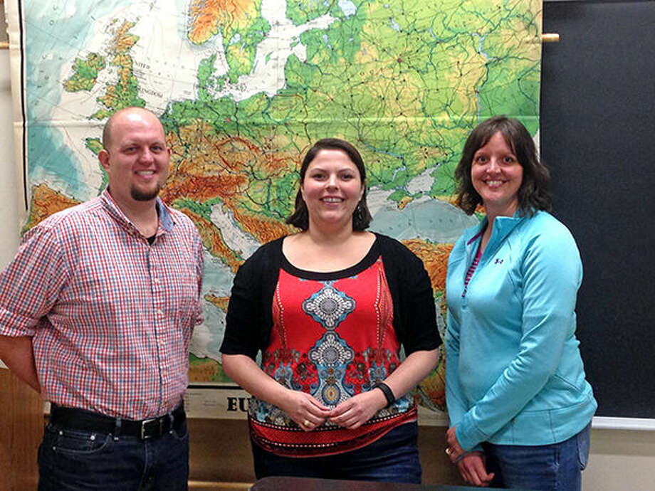 The newest additions to SIUE's department of geography: Michael Shouse, Stacey Brown and Adriana Martinez. Photo: SIUE Photo