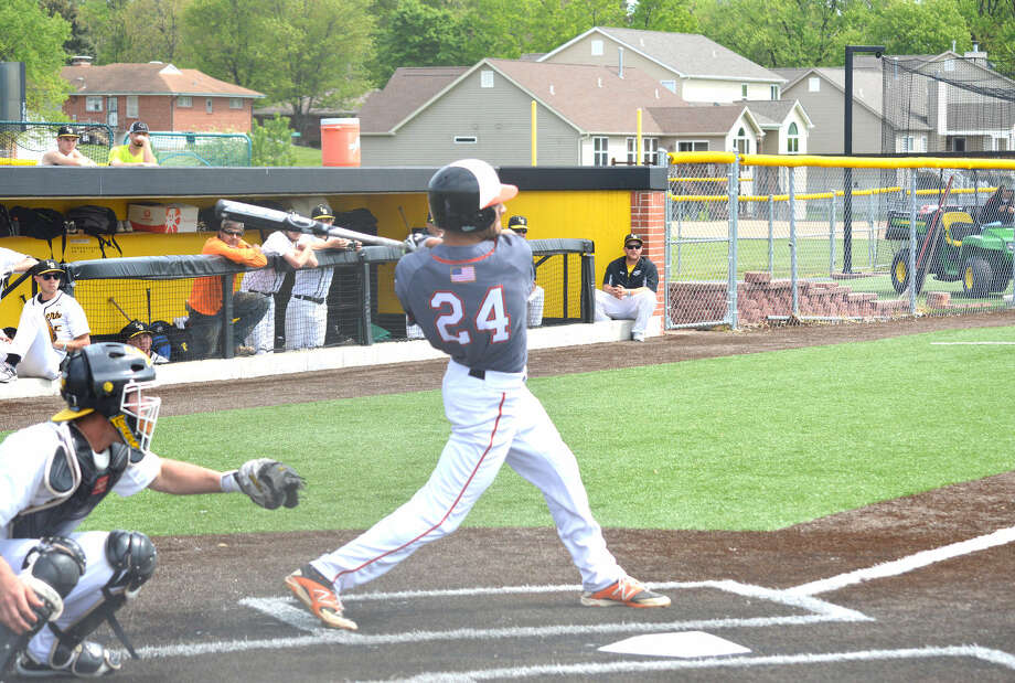 Edwardsville senior Fahd Shakeel hits a three-run homer in the second inning of Saturday's game at Lutheran South.