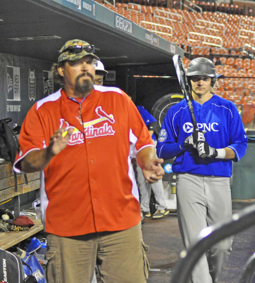 Danny Cox cheers on his players in his role as manager of the Illinois team in Thursday's PNC Bank KMOX High School Baseball Showcase at Busch Stadium. Photo: Evan Meyers