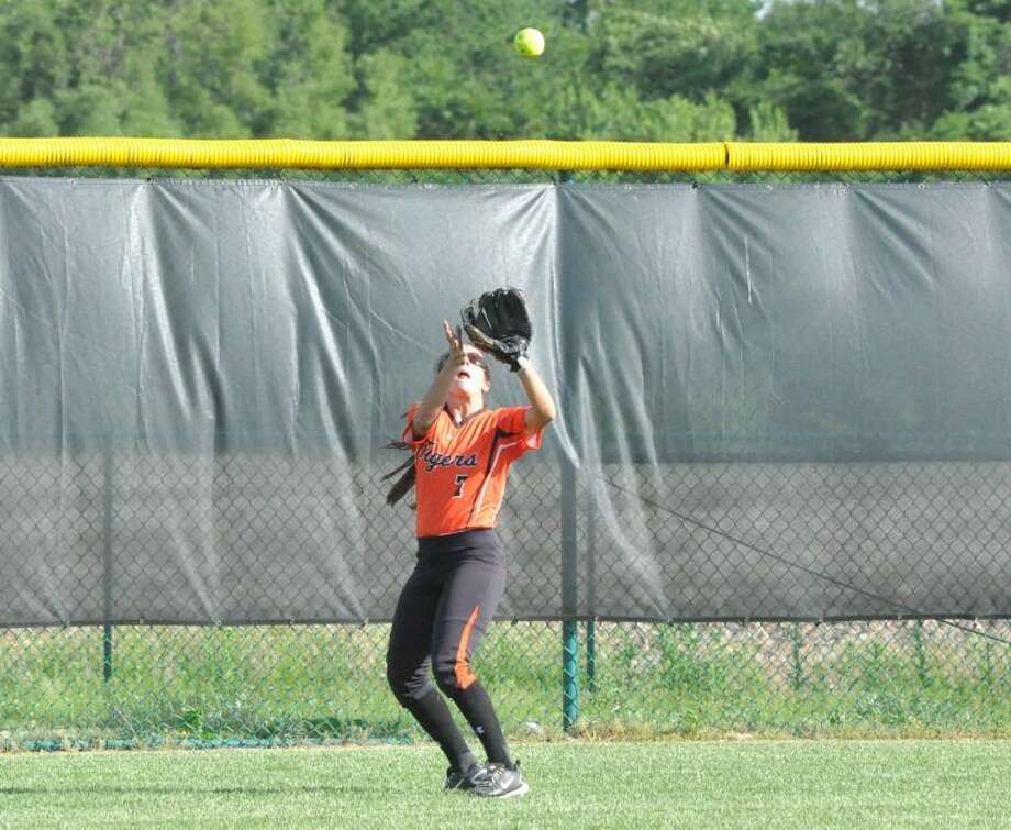Edwardsville center fielder Taylor Maggio makes a catch to end the third inning against Belleville East in the Class 4A Normal Community Sectional semifinals at Belleville West.