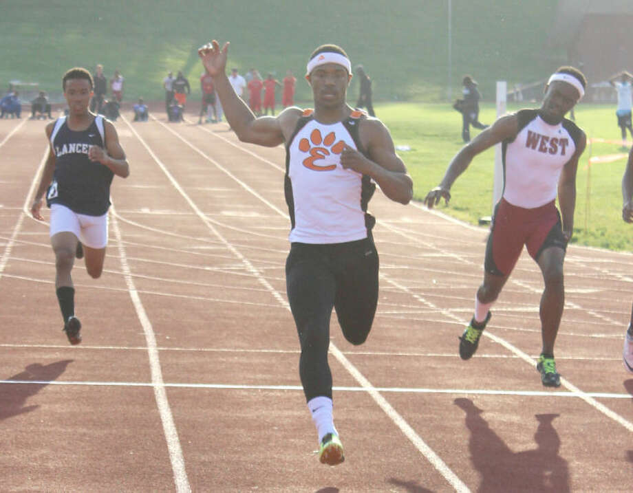 Edwardsville's Craig James runs in the 100-meter dash at the Southwestern Conference Meet in Alton. James has been named the Intelligencer's MVP for boys' track and field.