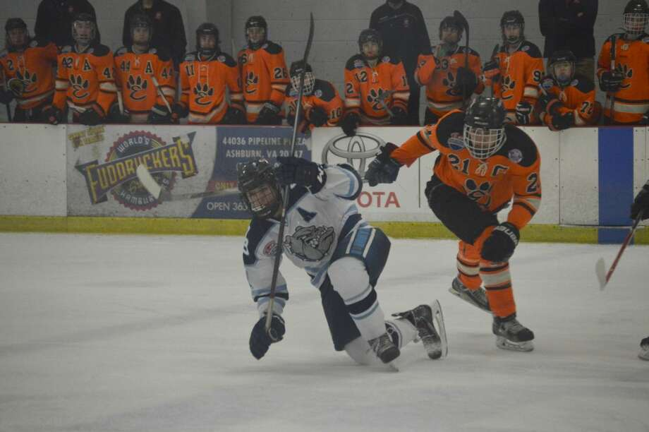 Edwardsville's Carson Lewis, right, is called for a tripping penalty in the first period.