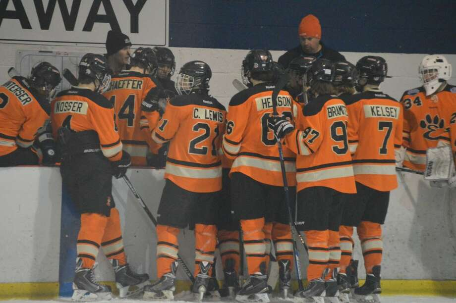 The Edwardsville Tigers gather at the bench before the start of the second period on Saturday.
