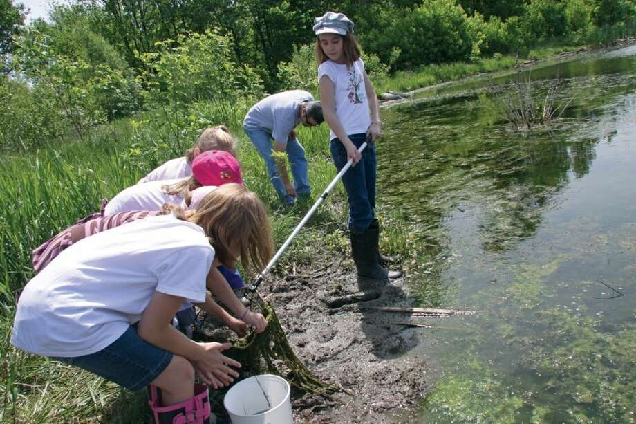 A group of youngsters check a net to see what they caught at the Watershed Nature Center. Photo: Marci Winters-McLaughlin/Intelligencer