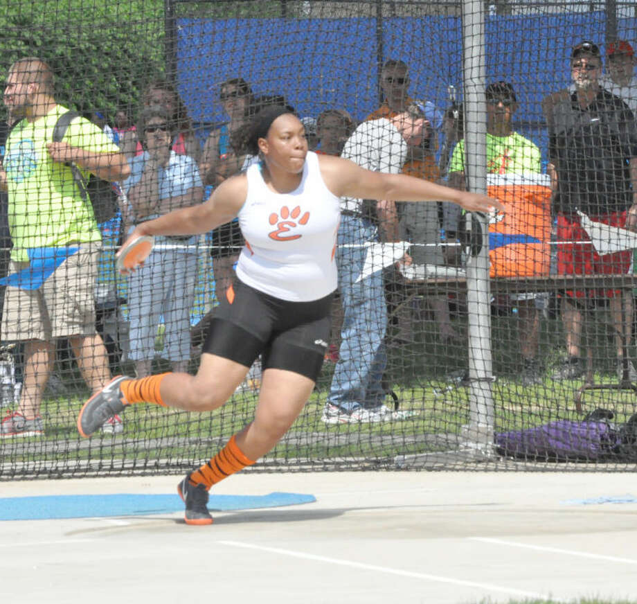 Edwardsville's Emmonnie Henderson wins the discus state championship on her final heave in Charleston on Saturday.