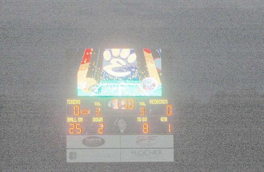 Edwardsville High School unveiled its new video scoreboard on Friday when the Tigers hosted the Alton Redbirds in football. Privately funded, the scoreboard sits on the southwest end of the field.